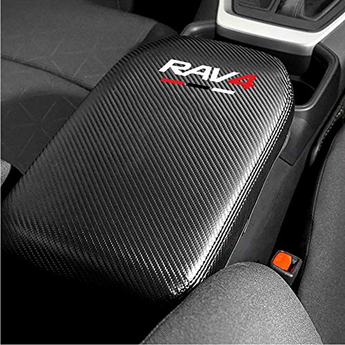Car-Center-Console-Lid-Armrest-Cover-Protector-Real-Carbon-Fiber-Leather-Cover-Fit-for-Toyot-a-Rav4-2019-2020-XA50-Center-Console-Armrest-Box-Scratch-Resistance-Armrest-Cover-with-Carbon-0-0