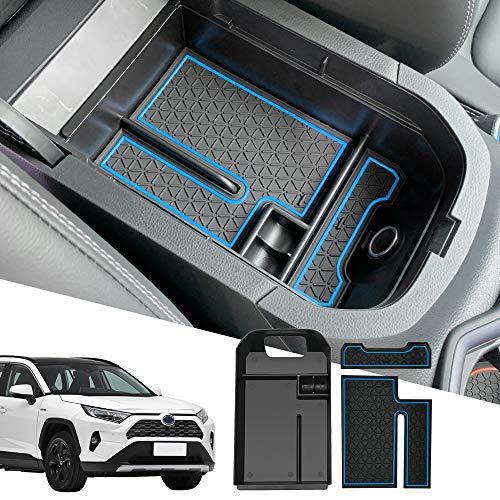 D-Lumina-RAV4-Center-Console-Insert-Organizer-Compatible-with-Toyota-RAV-4-2019-2020-2021-Armrest-Secondary-Tray-Storage-Box-wBlue-Anti-Dust-Mats-0