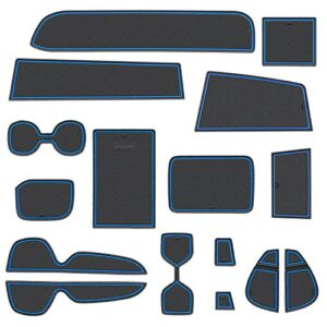 LIGENT-Cup-Holder-for-Toyota-Rav4-2019-2020-2021-Center-Console-Liner-Insert-Interior-Accessories-Decoration-Pocket-Fitted-Liners-Pad-16-pc-Set-Blue-Trim-0