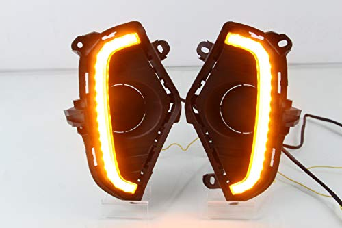 PGONE-Switchback-White-Amber-LED-Front-Fog-Daytime-Running-Lamp-wDynamic-Sequential-Flash-LED-Turn-Signal-Feature-For-2019-2020-Toyota-Rav4-Accessories-A-0-4