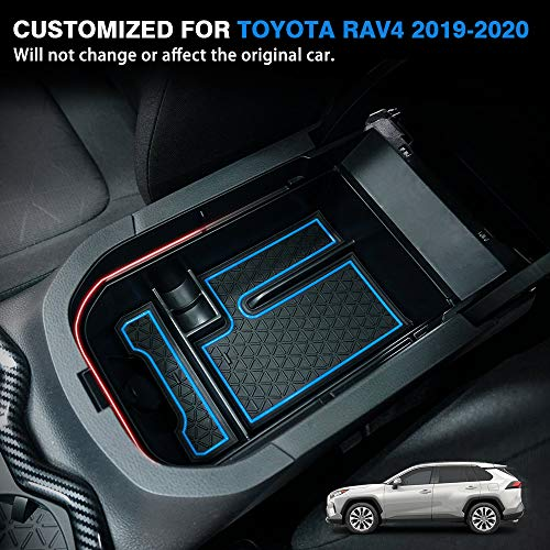 Powerty-Center-Console-Organizer-Storage-Box-Accessories-for-Toyota-RAV4-5th-Gen-XA50-2019-2020-2021-with-Blue-Mats-and-Black-Mats-0-0