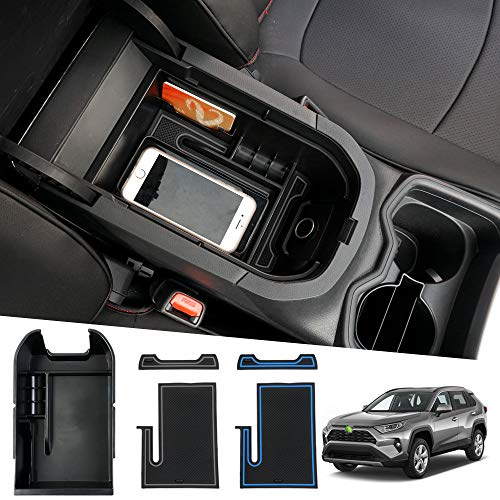 Powerty-Storage-Box-Center-Console-Organizer-Tray-Armrest-Box-Secondary-with-Card-Holder-Enough-Phone-Space-for-Toyota-RAV4-2019-2020-2021Upgraded-Version-0