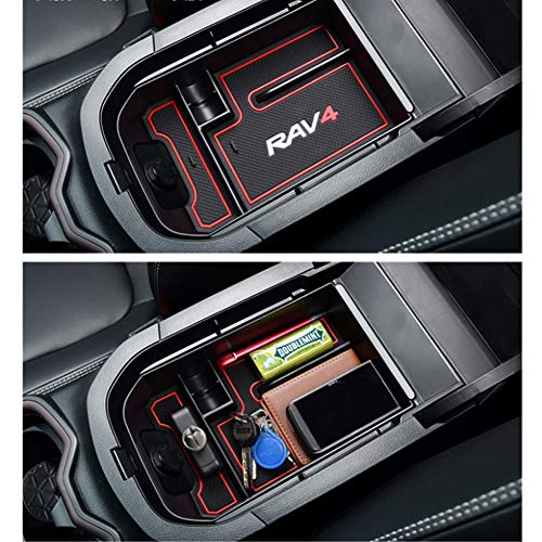 YIKA-2019-RAV4-Accessories-Center-Console-Organizer-Tray-Armrest-Box-Secondary-Storage-Fit-2019-2020-Toyota-RAV4-0-0